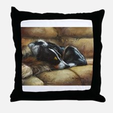 Border Collie on Couch Throw Pillow