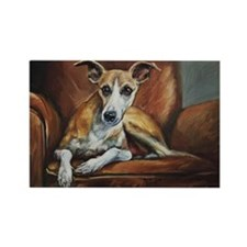 Whippet on Chair Rectangle Magnet