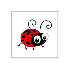 "Cute Ladybug Square Sticker 3"" x 3"""
