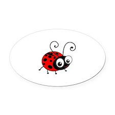 Cute Ladybug Oval Car Magnet
