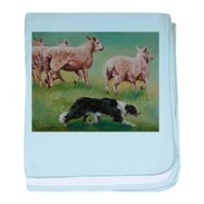 Border Collie on Sheep baby blanket