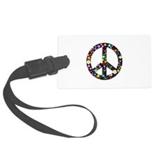 Hippie Flowery Peace Sign Luggage Tag