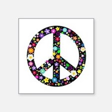 "Hippie Flowery Peace Sign Square Sticker 3"" x 3"""