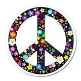 Hippy flower peace Round Car Magnets