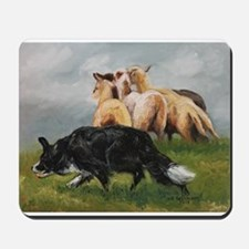 Border Collie and Sheep Mousepad