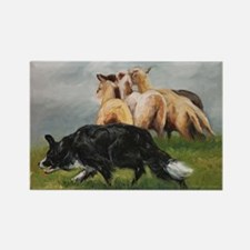 Border Collie and Sheep Rectangle Magnet
