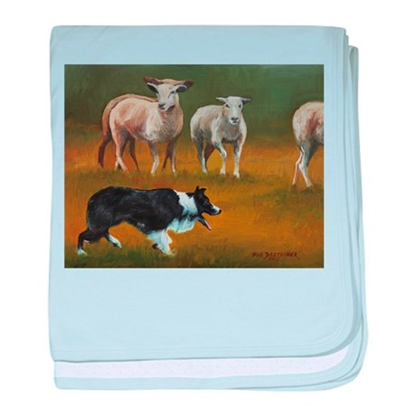 Border Collie and Sheep baby blanket