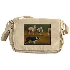 Border Collie and Sheep Messenger Bag