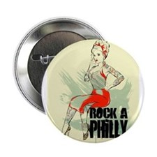 """ROCK A PHILLY PIN-UP GIRL 2.25"""" Button"""