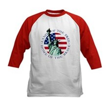 American flag Statue Liberty Kids Baseball Tee