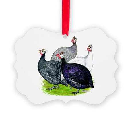 Four Guineafowl Picture Ornament