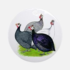 Four Guineafowl Ornament (Round)