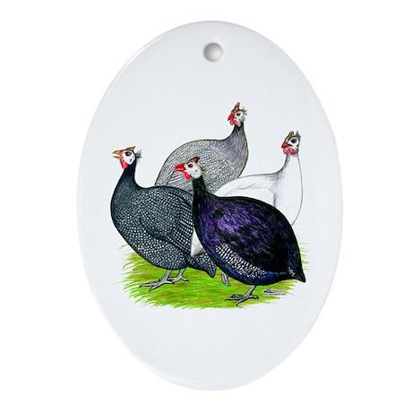 Four Guineafowl Ornament (Oval)