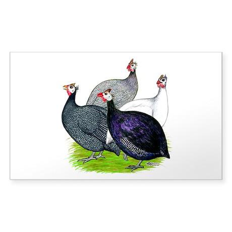 Four Guineafowl Sticker (Rectangle)