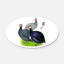Four Guineafowl Oval Car Magnet