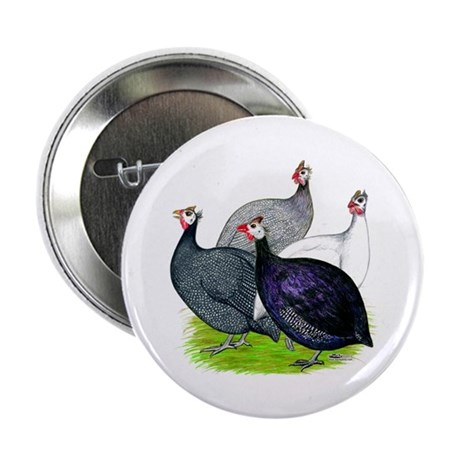 "Four Guineafowl 2.25"" Button (10 pack)"