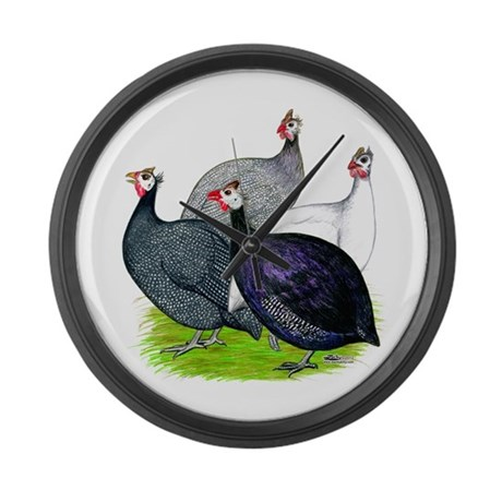 Four Guineafowl Large Wall Clock