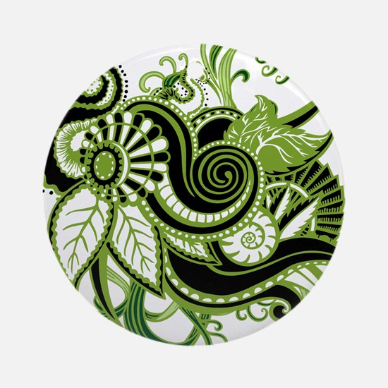 OYOOS Green Flower design Ornament (Round)