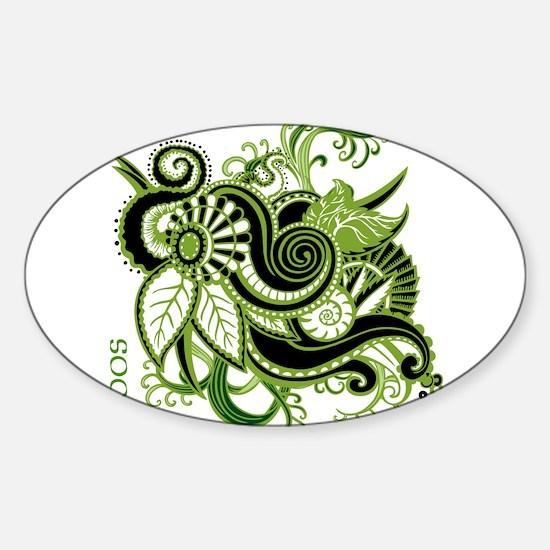OYOOS Green Flower design Sticker (Oval)