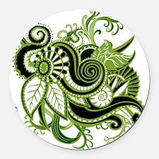 OYOOS Green Flower design Round Car Magnet