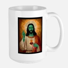Zombie Jesus Loves Brains Large Mug