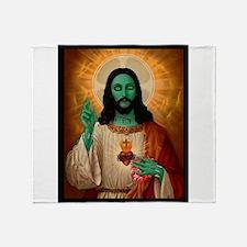 Zombie Jesus Loves Brains Throw Blanket