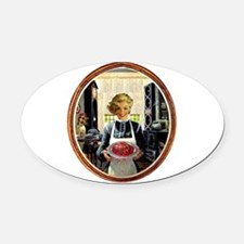 Zombie Housewife Serves Brains Oval Car Magnet