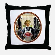Zombie Housewife Serves Brains Throw Pillow