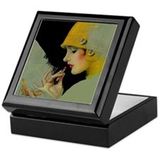 Art Deco Flapper Putting on Lipstick Keepsake Box
