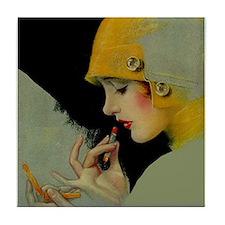 Art Deco Flapper Putting on Lipstick Tile Coaster