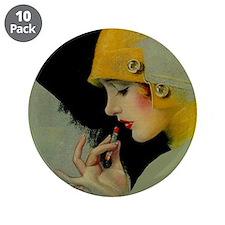 "Art Deco Flapper Putting on Lipstick 3.5"" Button ("