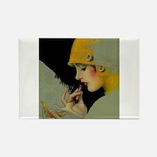 Art Deco Flapper Putting on Lipstick Rectangle Mag