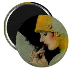 "Art Deco Flapper Putting on Lipstick 2.25"" Magnet"