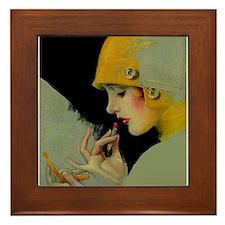 Art Deco Flapper Putting on Lipstick Framed Tile