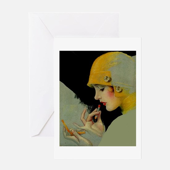 Art Deco Flapper Putting on Lipstick Greeting Card