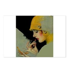 Art Deco Flapper Putting on Lipstick Postcards (Pa