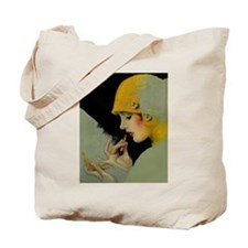 Art Deco Flapper Putting on Lipstick Tote Bag