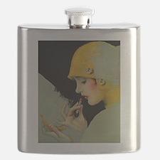 Art Deco Flapper Putting on Lipstick Flask