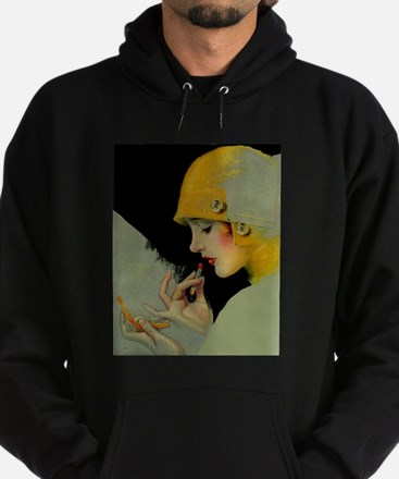 Art Deco Flapper Putting on Lipstick Hoodie (dark)
