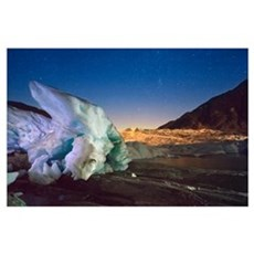 Mendenhall Glacier with a large iceberg and starry Poster