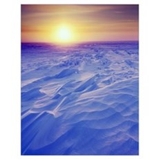 Sunset Over Wind-Carved Snow Drifts, North Slope,  Poster