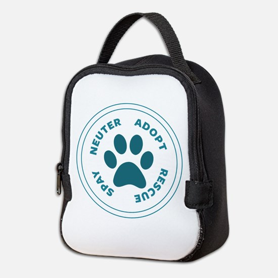 Teal Spay Neuter Adopt Rescue Neoprene Lunch Bag