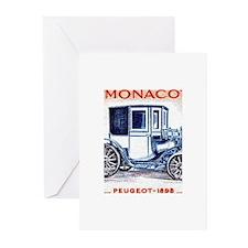 1961 Monaco 1898 Peugeot Postage Stamp Greeting Ca