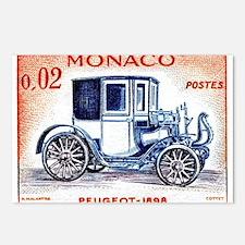 1961 Monaco 1898 Peugeot Postage Stamp Postcards (