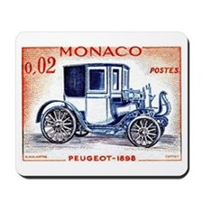 1961 Monaco 1898 Peugeot Postage Stamp Mousepad