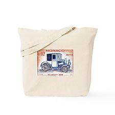 1961 Monaco 1898 Peugeot Postage Stamp Tote Bag