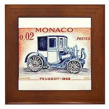 1961 Monaco 1898 Peugeot Postage Stamp Framed Tile