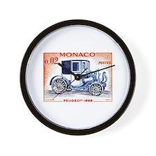 1961 Monaco 1898 Peugeot Postage Stamp Wall Clock