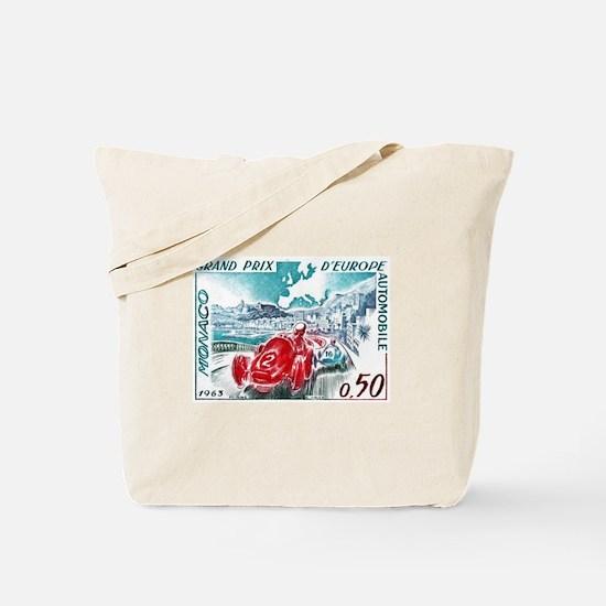 1963 Monaco Grand Prix Postage Stamp Tote Bag