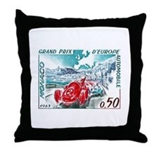 1963 Monaco Grand Prix Postage Stamp Throw Pillow